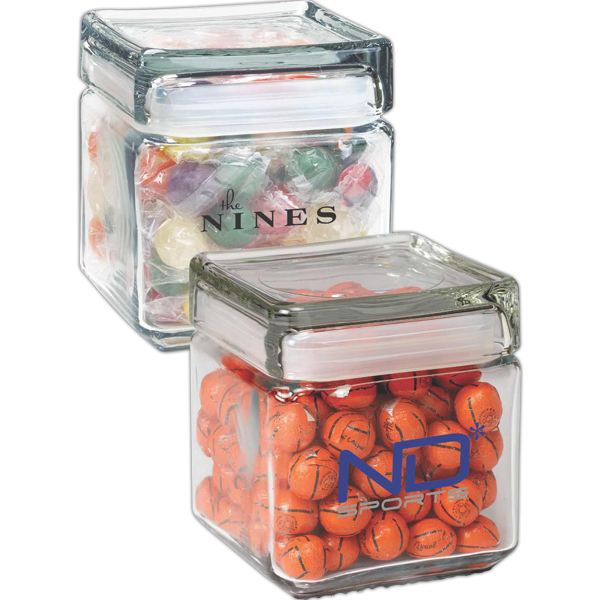 Imprinted Square Glass Jar / Chocolate Covered Candies