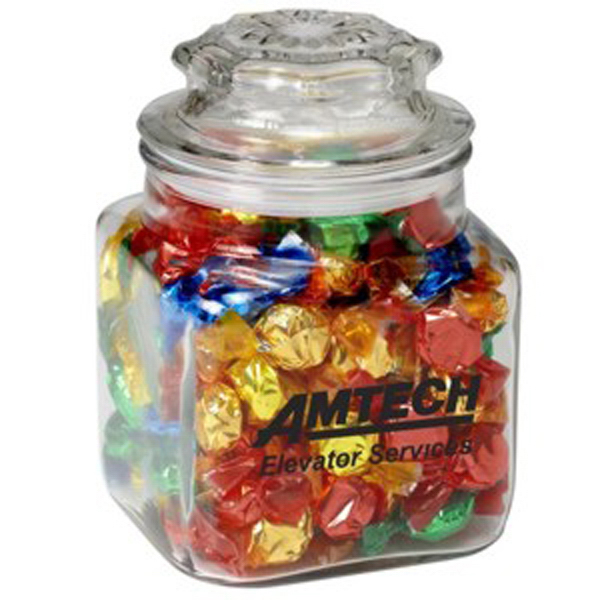Promotional Classic Glass Apothecary Jar / Foil Wrapped Candy