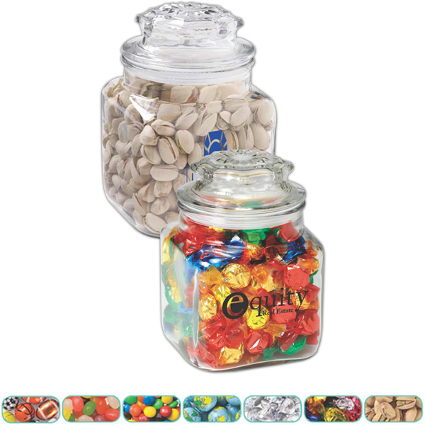 Customized Classic Glass Apothecary Jar /Chocolate Covered Candies