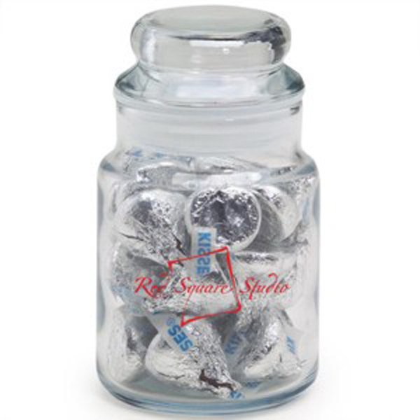 Printed Round Glass Jar / Hershey's Kisses (R)
