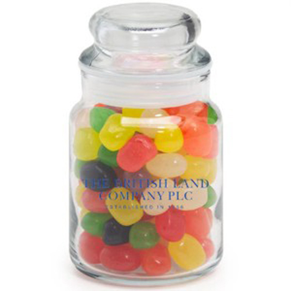 Imprinted Round Glass Jar / Jelly Beans Assorted