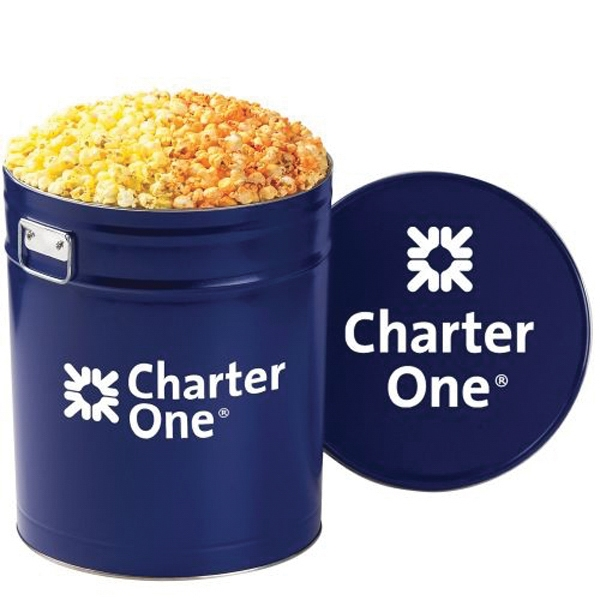 Promotional 2 Way Popcorn Tin / 6.5 Gallon