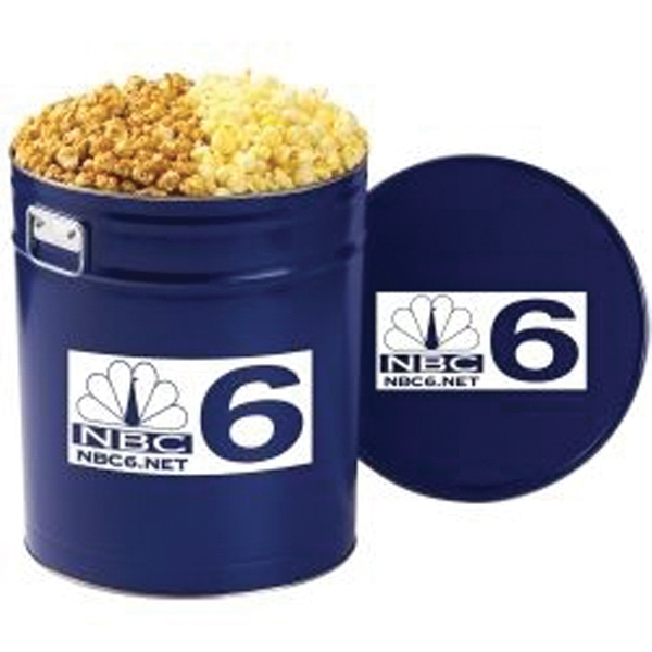 Imprinted 2 Way Popcorn Tin / 6.5 Gallon