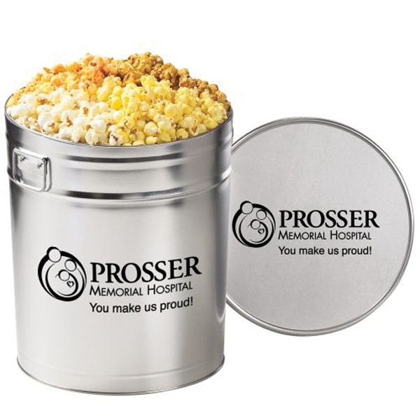 Promotional 4 Way Popcorn Tin / 6.5 Gallon