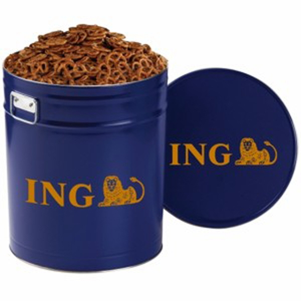 Printed Pretzel Tin / 6.5 Gallon