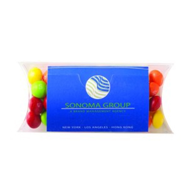 Imprinted Pillow Case Container with Business Card Slot / Skittles (R)