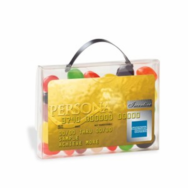 Printed Briefcase Candy Container with Business Card Slot
