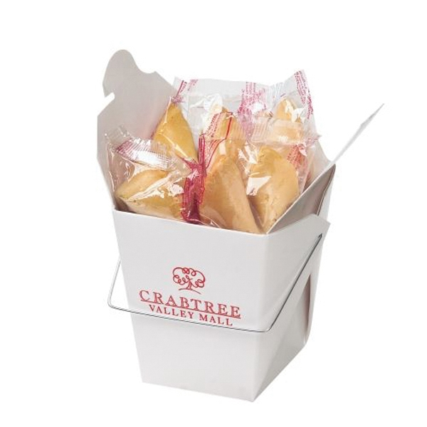 Imprinted Fortune Cookies in Carry Out Container