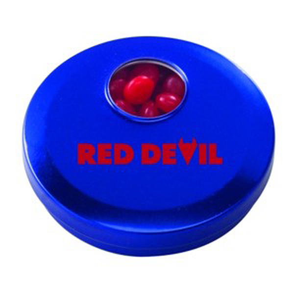 Printed Circle Spin Tin with Red Hots (R)