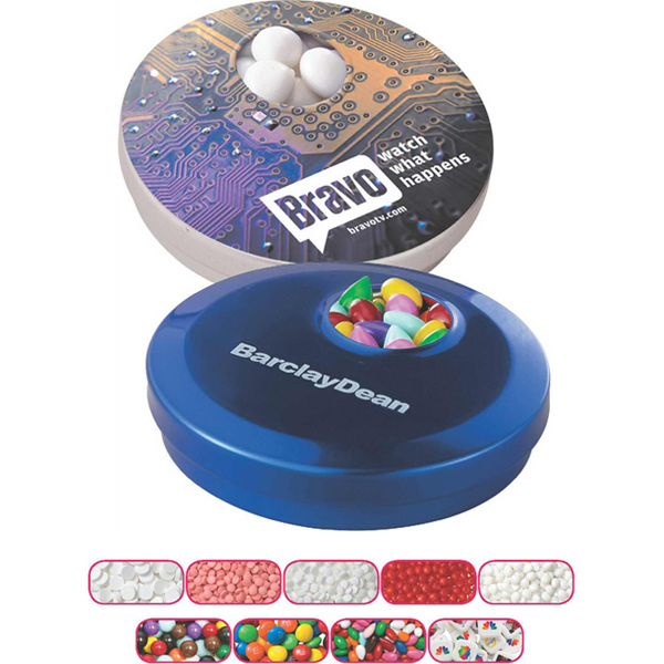 Printed Circle Spin Tin with White Mints