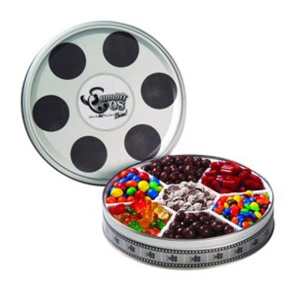 Promotional Large Film Reel Tin / 7 Way Candy Tin