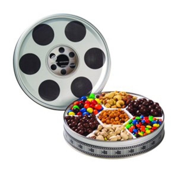 Customized Large Film Reel Tin / 7 Way Snack Tin
