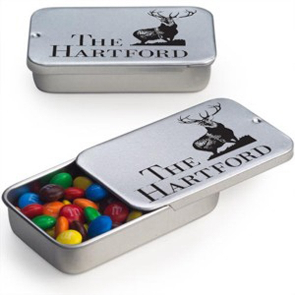 Imprinted Slide Tin with Mini Candy Coated Chocolates