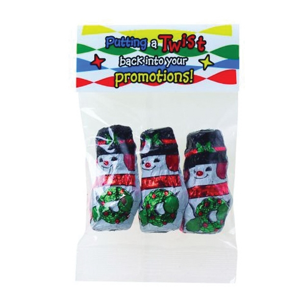 Customized 1 oz Chocolate Snowmen / Header Bag