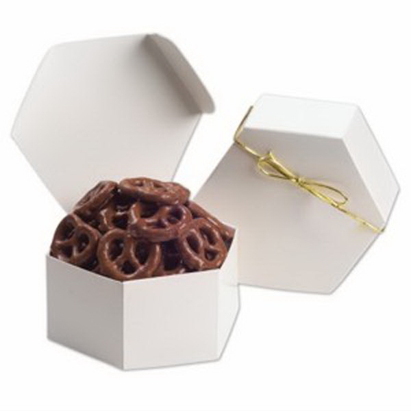 Printed Hexagon Gift Box / Chocolate Pretzels