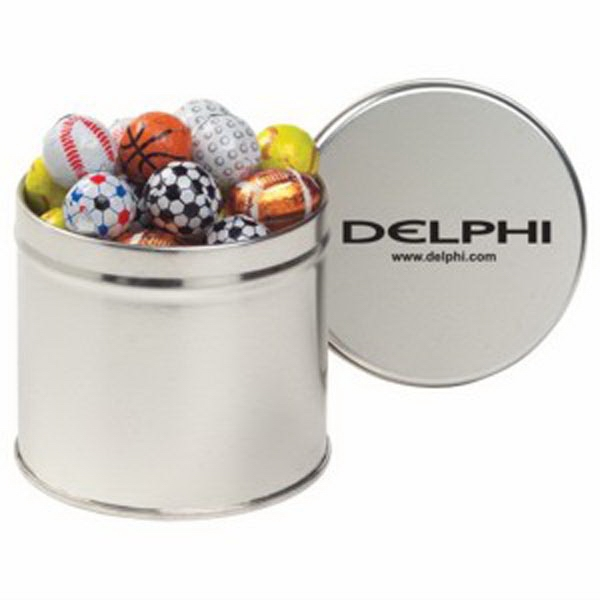 Printed Half Quart Tin with Chocolate Sport Balls