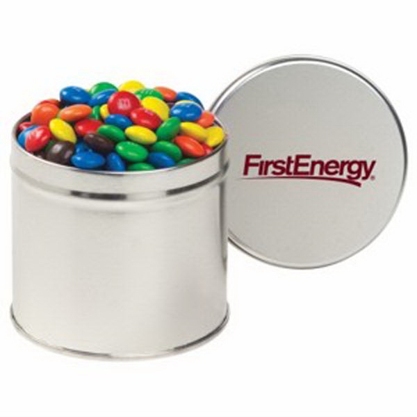 Promotional Half Quart Round Tin / Candy Coated Chocolate