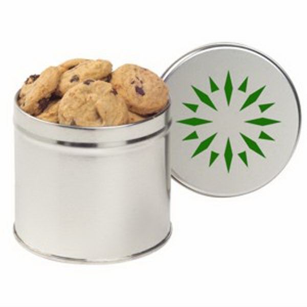 Promotional Half Quart Round Tin / Mini Chocolate Chip Cookies