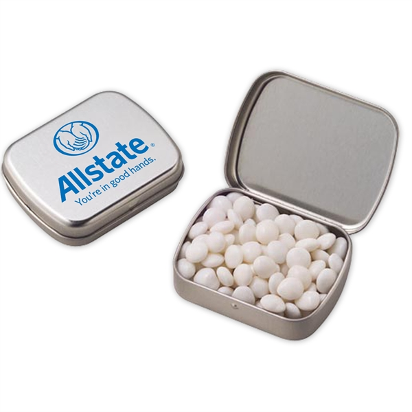 Imprinted Small Hinged Tin with White Mints