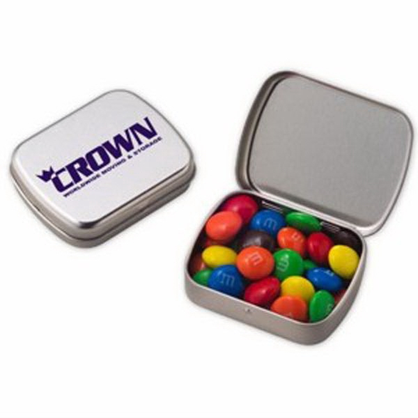Custom Small Hinged Tin with chocolate covered candies