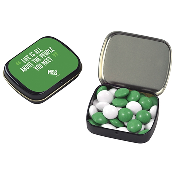 Promotional Small Hinged Tin with Chocolate Buttons