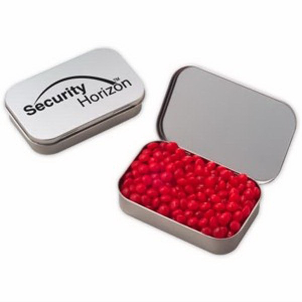 Custom Large Hinged Tin with Red Hots