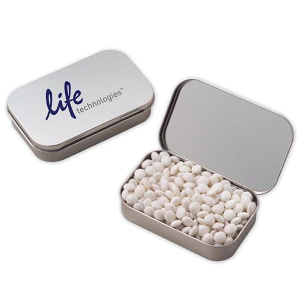 Customized Large Hinged Tin / White Mints