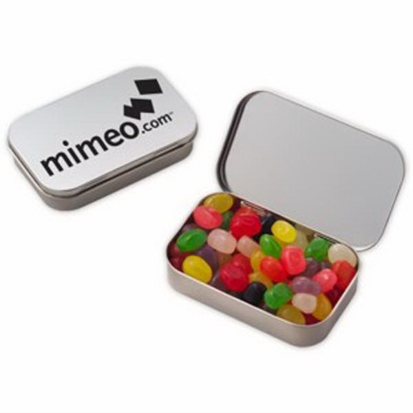 Customized Large Hinged Tin with Jelly Beans Assorted
