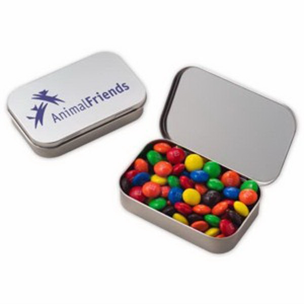 Imprinted Large Hinged Tin with Candy Coated Chocolates