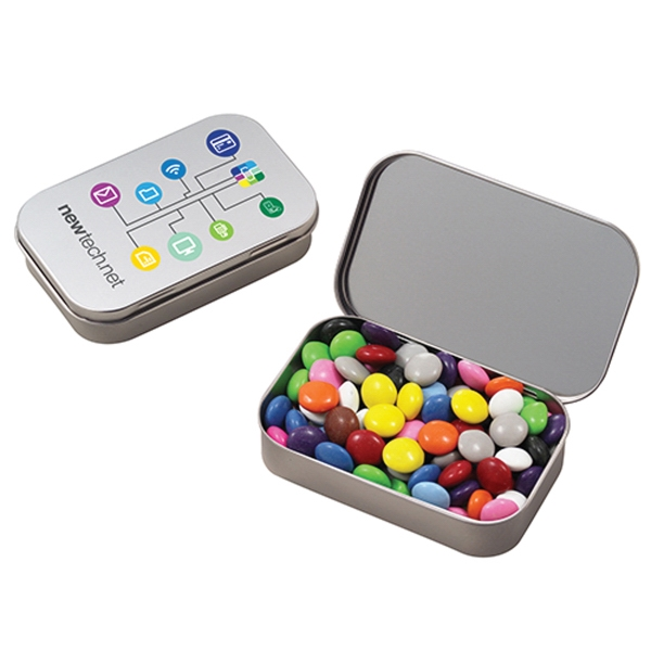 Customized Large Hinged Tin with Chocolate Buttons