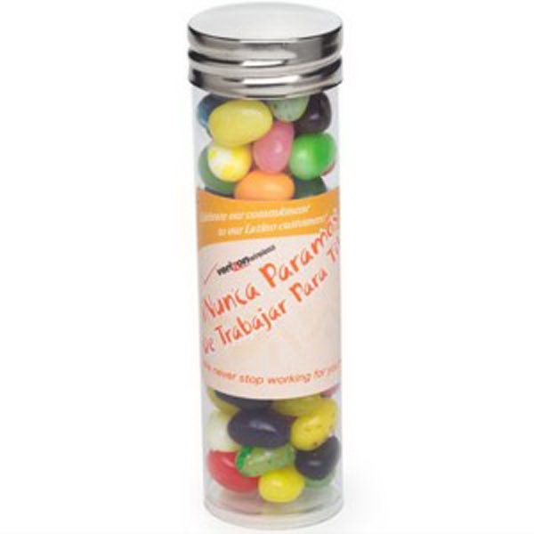 Customized Large Tube with Silver Cap / Gourmet Jelly Beans