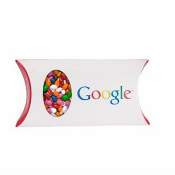Promotional Pillow Box with Window / Chocolate Covered Sunflower Seeds