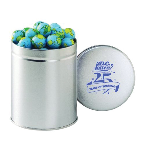 Promotional Quart Round Tin / Chocolate Earth Balls
