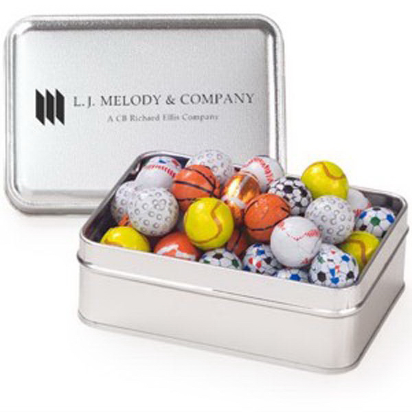 Promotional Small Rectangular Tin / Chocolate Sport Balls