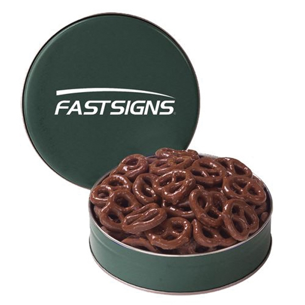 Custom Snack Tin with Chocolate Covered Pretzels