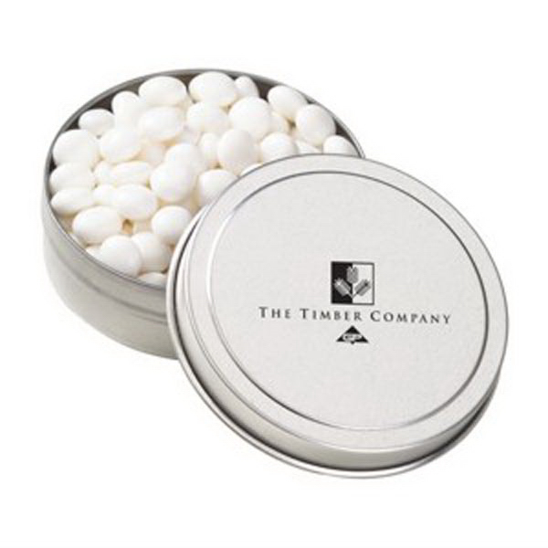 Imprinted Small Round Tin / White Mints