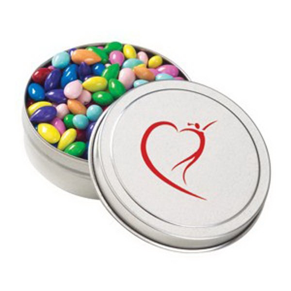 Imprinted Small Round Tin / Chocolate Covered Sunflower Seeds Gemmies