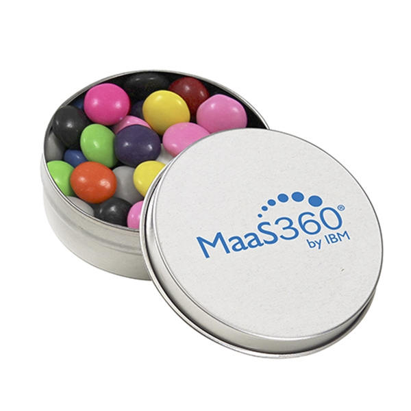Customized Round Silver Tin with Chocolate Buttons