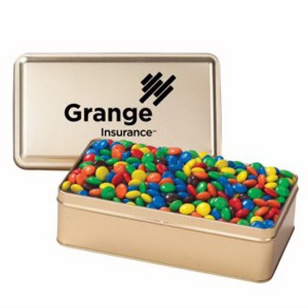 Printed Large Rectangular Tin / Chocolate Covered Candies