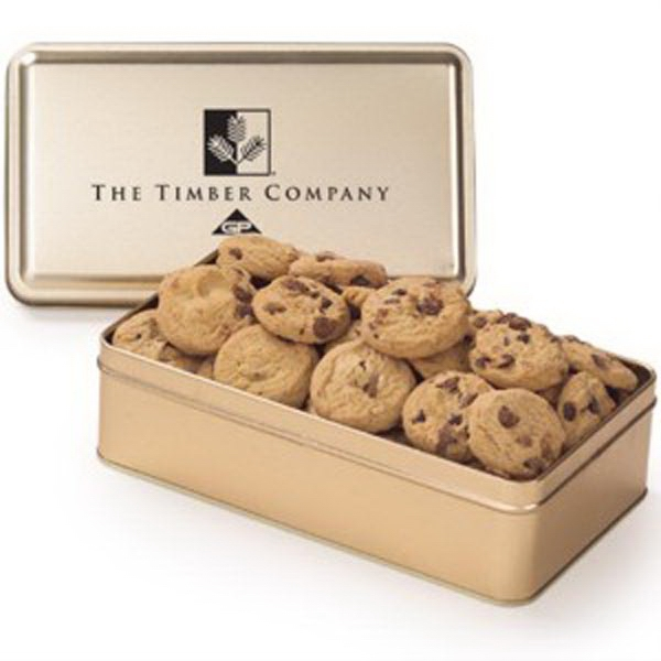 Imprinted Large Rectangle Tin / Mini Cookies