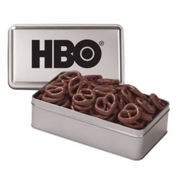 Custom Large Rectangle Tin / Chocolate Pretzels