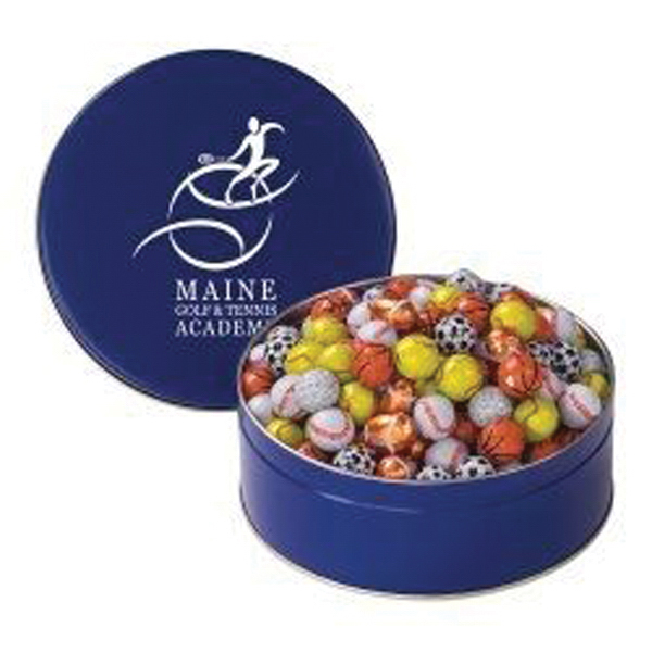 Customized Snack Tin with Chocolate Sport Balls