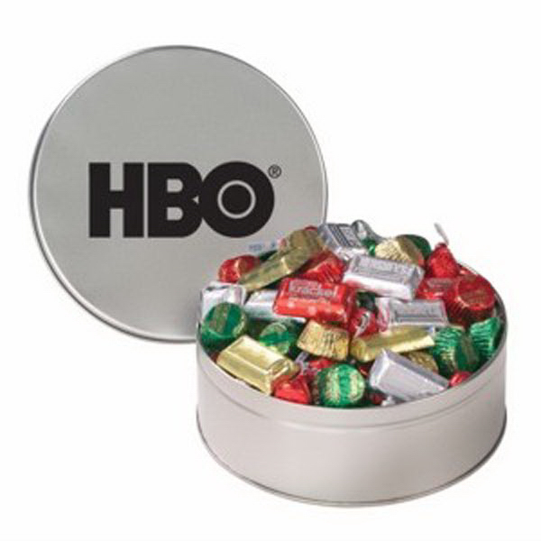 Imprinted Snack Tin with Hershey's® Holiday Mix
