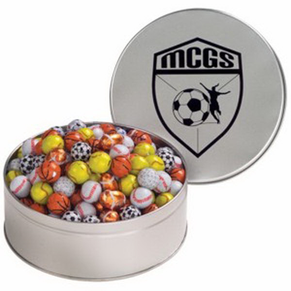 Imprinted Snack Tin with Chocolate Sport Balls