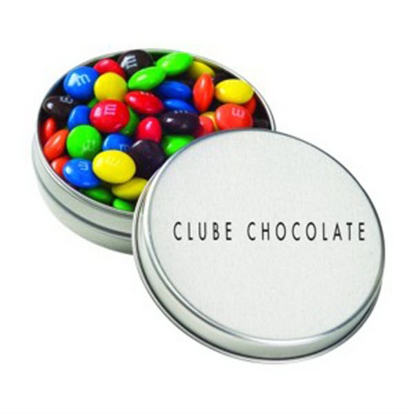 Personalized Medium Round Tin / Candy Coated Chocolate