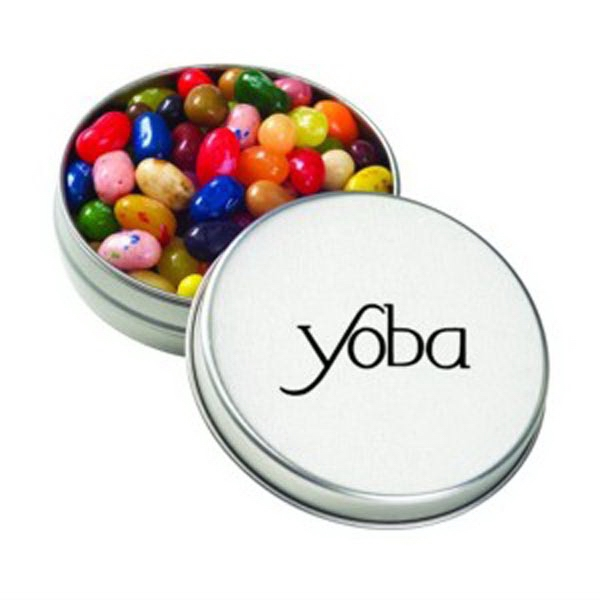 Printed Round Silver Tin with Jelly Belly (R) Jelly Beans