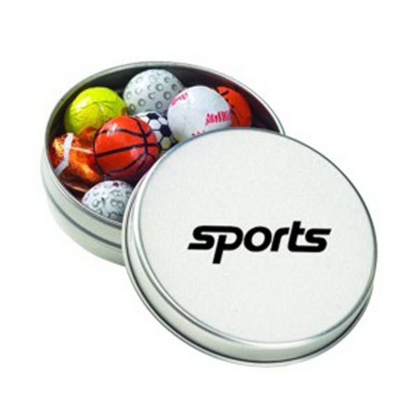 Promotional Medium Round Tin / Chocolate Sport Balls
