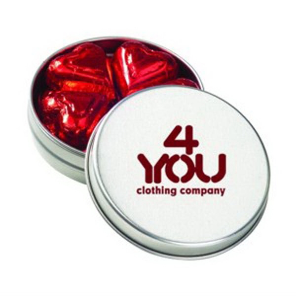 Promotional Medium Round Tin / Chocolate Foil Hearts