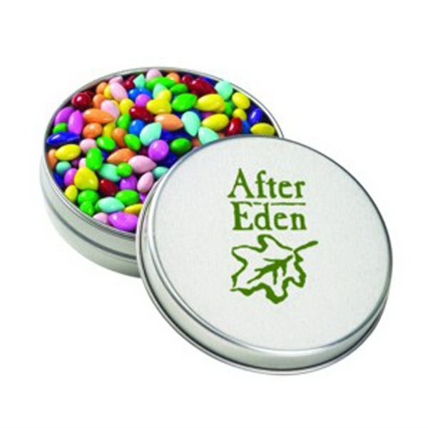 Personalized Medium Round Tin / Chocolate Covered Sunflower Seeds