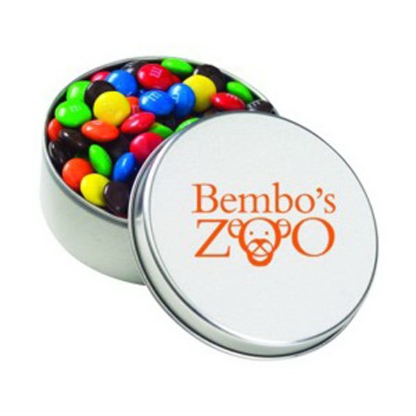Promotional Large Round Tin / Candy Coated Chocolate